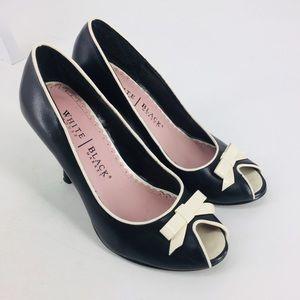 White House Black Market Black Bow Peep Toe Heels